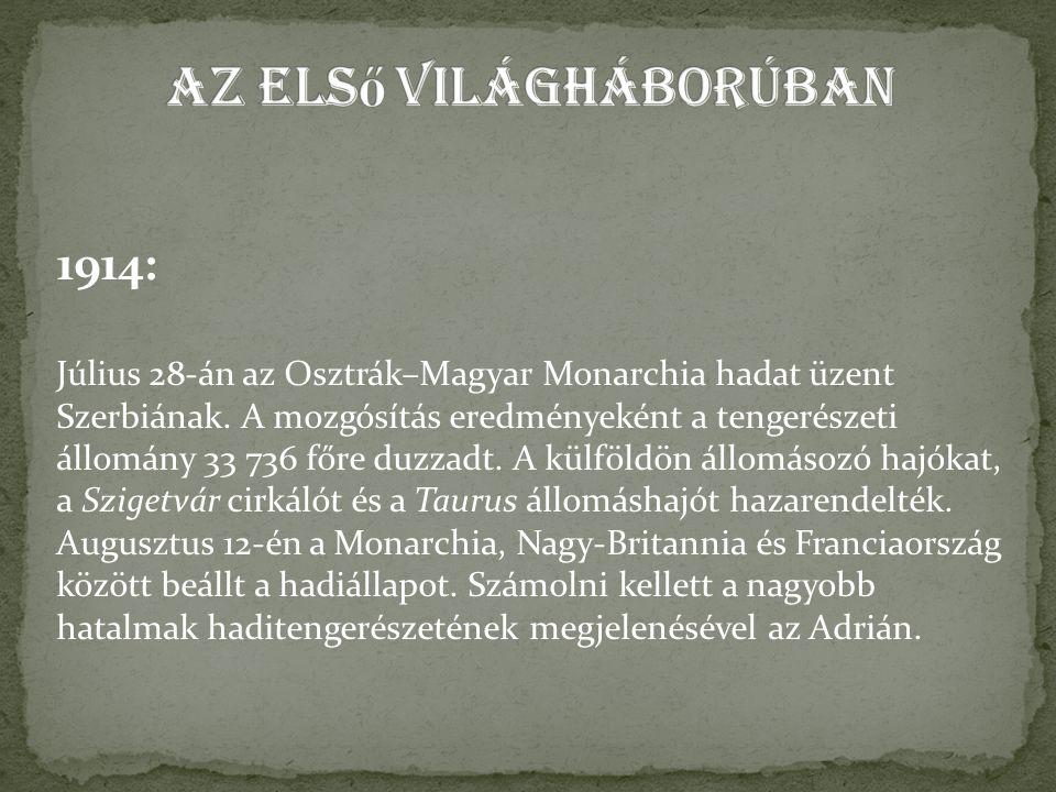 1914: Július 28-án az Osztrák–Magyar Monarchia hadat üzent Szerbiának.