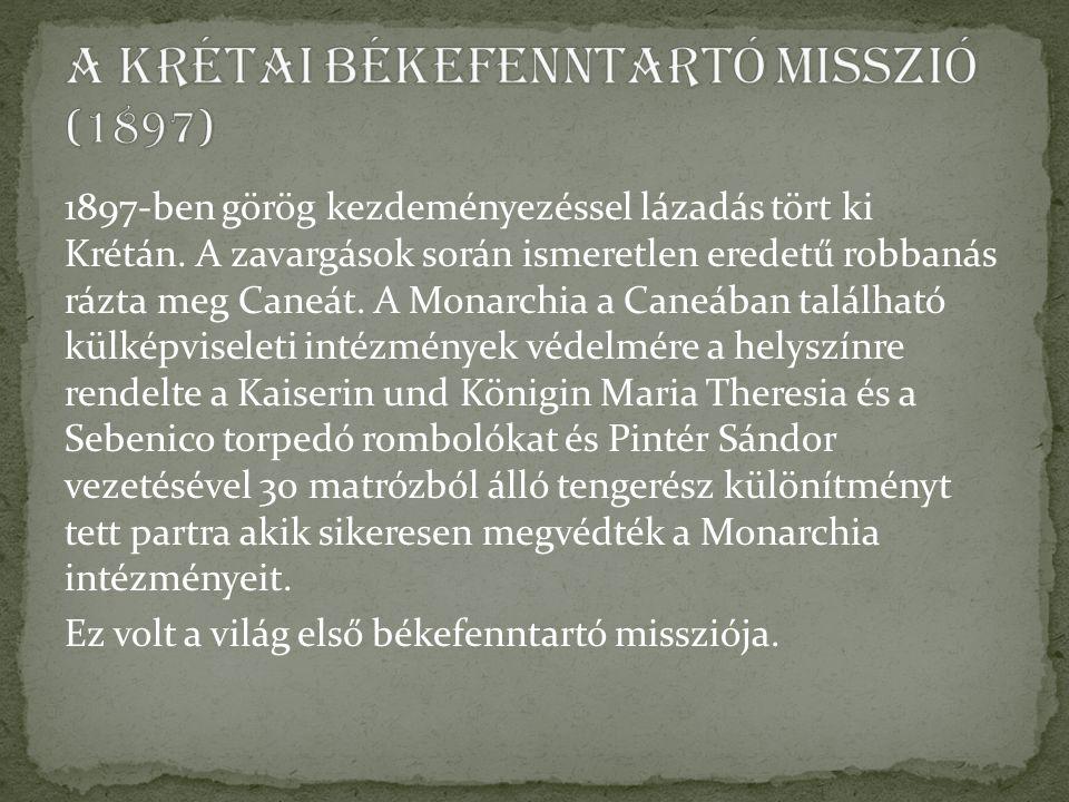 1897-ben görög kezdeményezéssel lázadás tört ki Krétán.