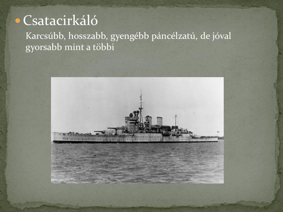 Csatacirkáló Karcsúbb, hosszabb, gyengébb páncélzatú, de jóval gyorsabb mint a többi