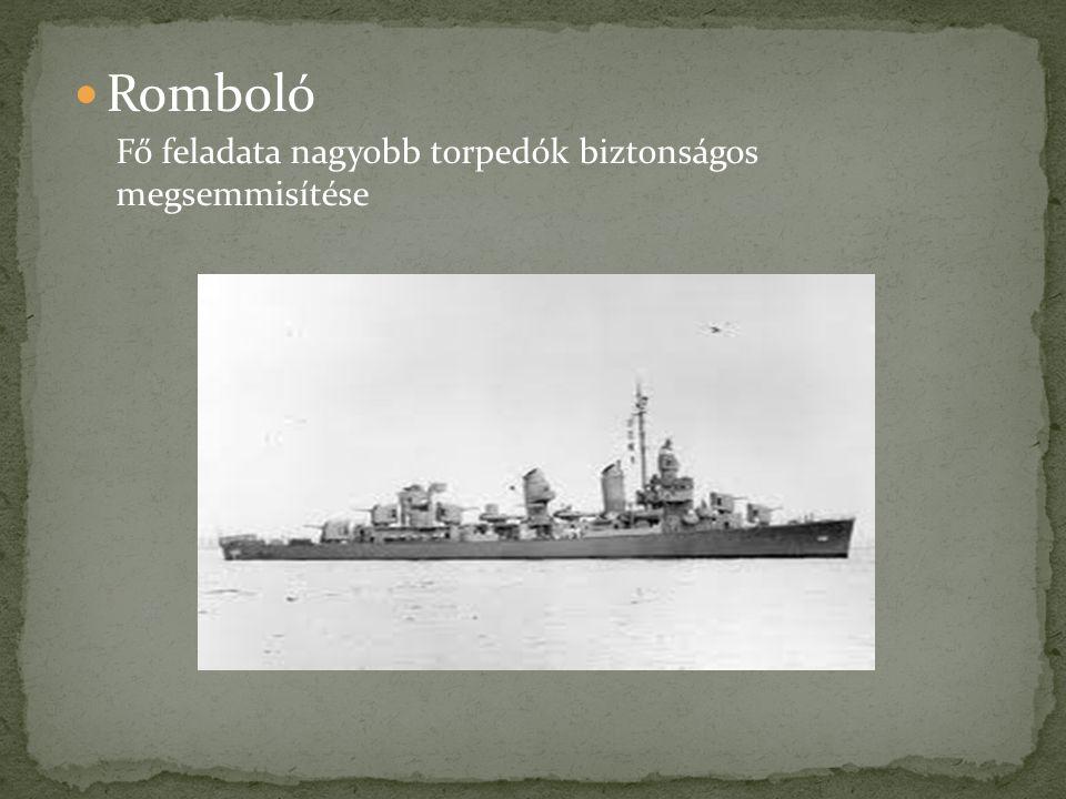 Romboló Fő feladata nagyobb torpedók biztonságos megsemmisítése