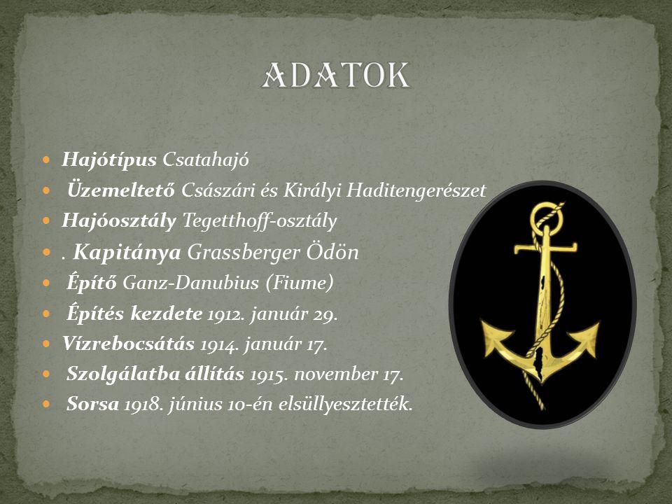 Hajótípus Csatahajó Üzemeltető Császári és Királyi Haditengerészet Hajóosztály Tegetthoff-osztály.