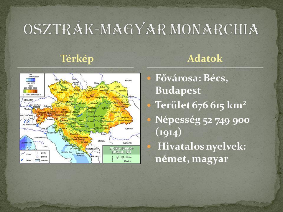 Térkép Fővárosa: Bécs, Budapest Terület 676 615 km² Népesség 52 749 900 (1914) Hivatalos nyelvek: német, magyar Adatok
