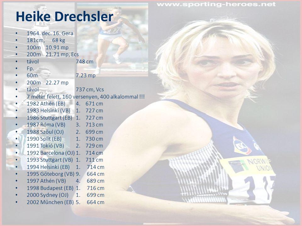 Heike Drechsler 1964. dec. 16. Gera 181cm, 68 kg 100m10.91 mp 200m21.71 mp, Ecs távol748 cm Fp. 60m7.23 mp 200m 22.27 mp távol737 cm, Vcs 7 méter fele