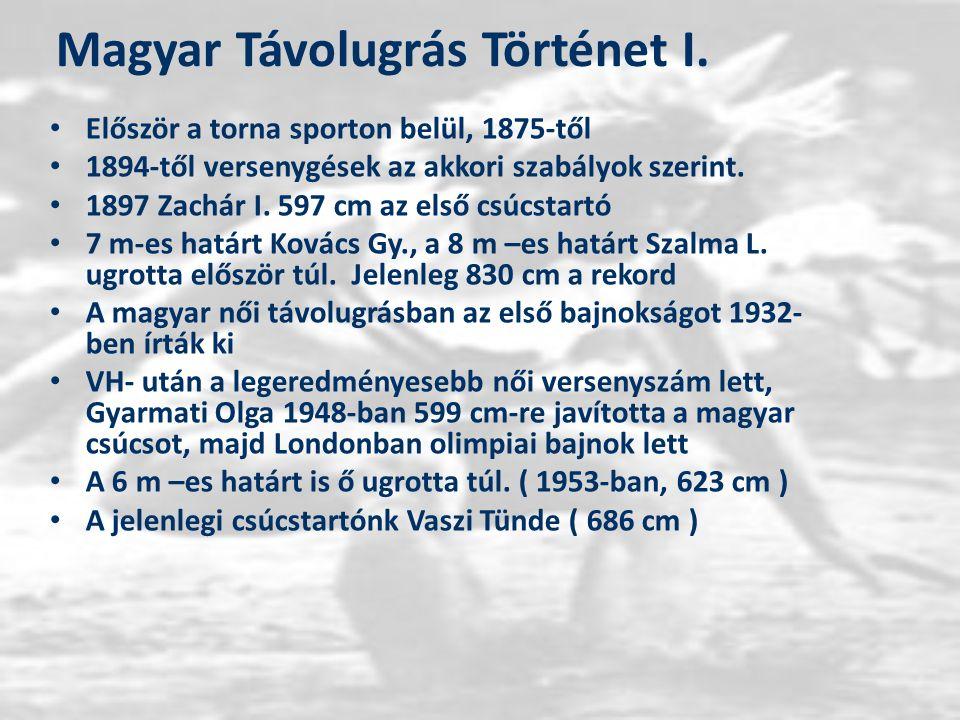 Magyar Távolugrás Történet I. Először a torna sporton belül, 1875-től 1894-től versenygések az akkori szabályok szerint. 1897 Zachár I. 597 cm az első