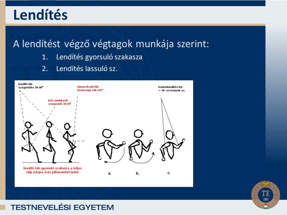 Lendítés A lendítést végző végtagok munkája szerint: 1.Lendítés gyorsuló szakasza 2.Lendítés lassuló sz.