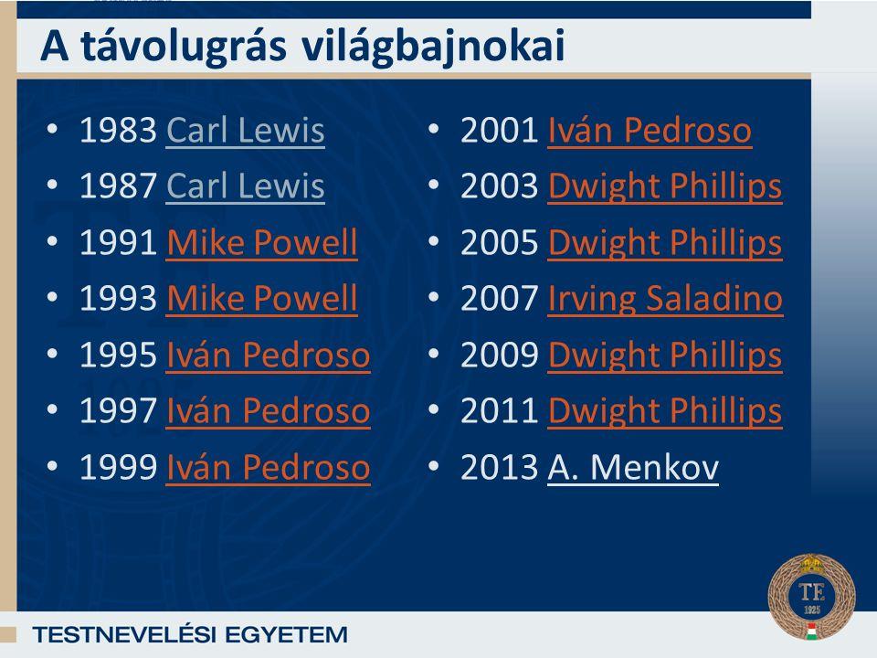A távolugrás világbajnokai 1983 Carl Lewis 1987 Carl Lewis 1991 Mike PowellMike Powell 1993 Mike PowellMike Powell 1995 Iván PedrosoIván Pedroso 1997