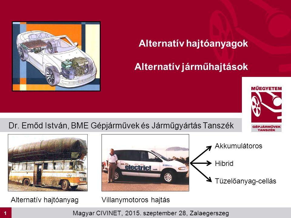 1 Dr. Emőd István, BME Gépjárművek és Járműgyártás Tanszék Alternatív hajtóanyagok Alternatív járműhajtások Magyar CIVINET, 2015. szeptember 28, Zalae