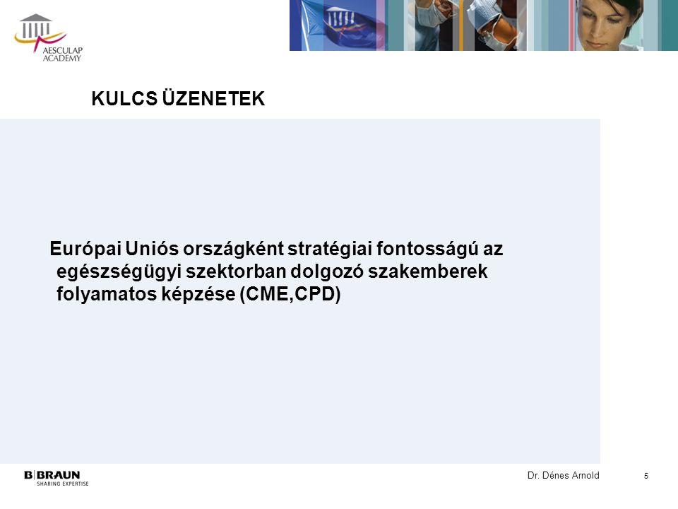 Dr. Dénes Arnold KULCS ÜZENETEK Európai Uniós országként stratégiai fontosságú az egészségügyi szektorban dolgozó szakemberek folyamatos képzése (CME,