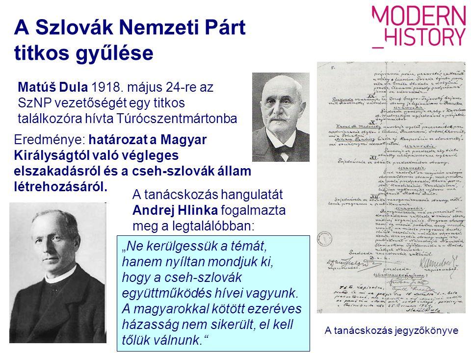 A Szlovák Nemzeti Párt titkos gyűlése Matúš Dula 1918.