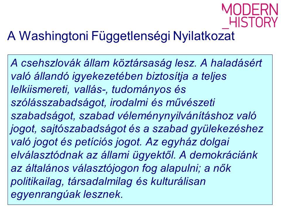 A Washingtoni Függetlenségi Nyilatkozat A csehszlovák állam köztársaság lesz.
