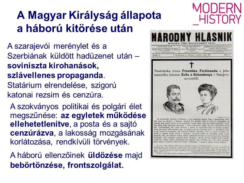 A szlovák politikai élet megbénul – egyes személyek és intézmények elleni megtorló intézkedések (internálás, bebörtönzés, erőszakos sorozás és ezt követően frontszolgálat; állami felügyelet, hivatalnokaik elhurcolása, tevékenységük teljes beszüntetése) A szlovák politikai élet a háború kitörése után A politikai bizonytalanság légkörében az SzNP elnöksége 1914.