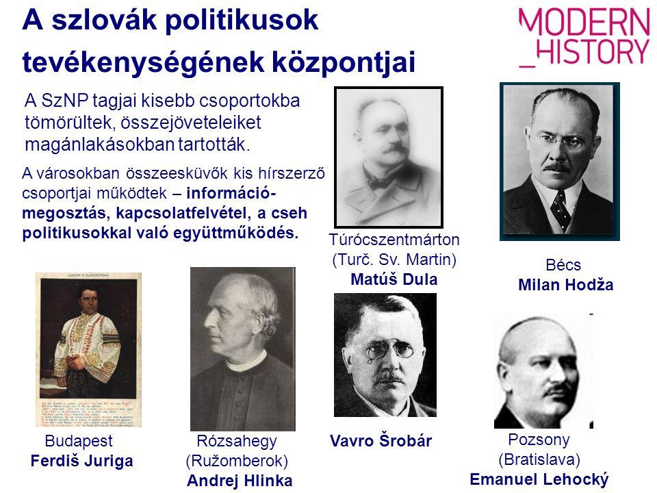 A szlovák politikusok tevékenységének központjai Budapest Ferdiš Juriga Rózsahegy (Ružomberok) Andrej Hlinka Bécs Milan Hodža Túrócszentmárton (Turč.