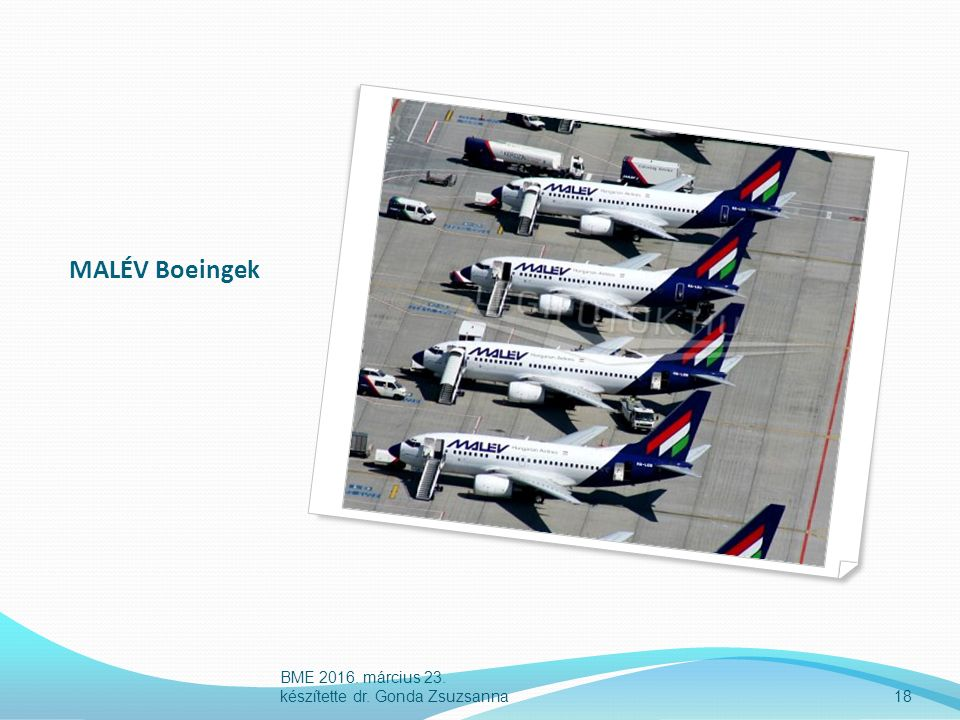 MALÉV Boeingek 18 BME 2016. március 23. készítette dr. Gonda Zsuzsanna