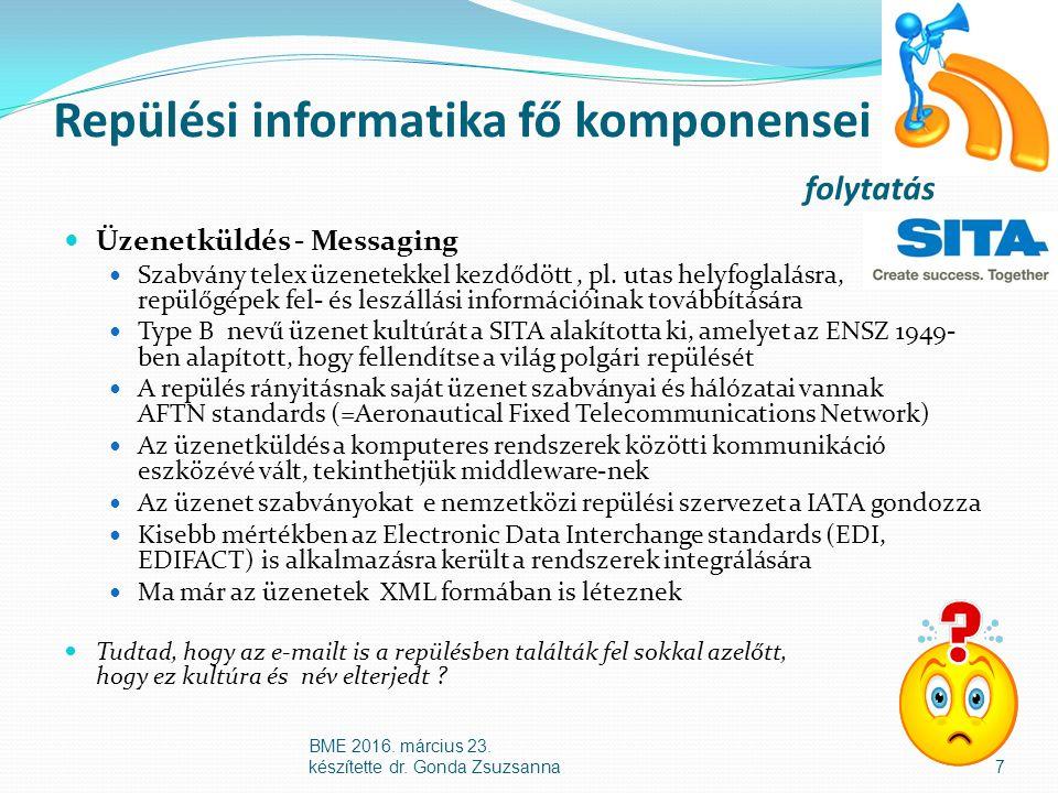Repülési informatika fő komponensei folytatás Üzenetküldés - Messaging Szabvány telex üzenetekkel kezdődött, pl.