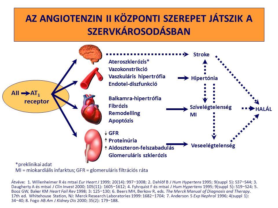 GFR Proteinúria Aldoszteron-felszabadulás Glomeruláris szklerózis AZ ANGIOTENZIN II KÖZPONTI SZEREPET JÁTSZIK A SZERVKÁROSODÁSBAN Átvéve: 1.