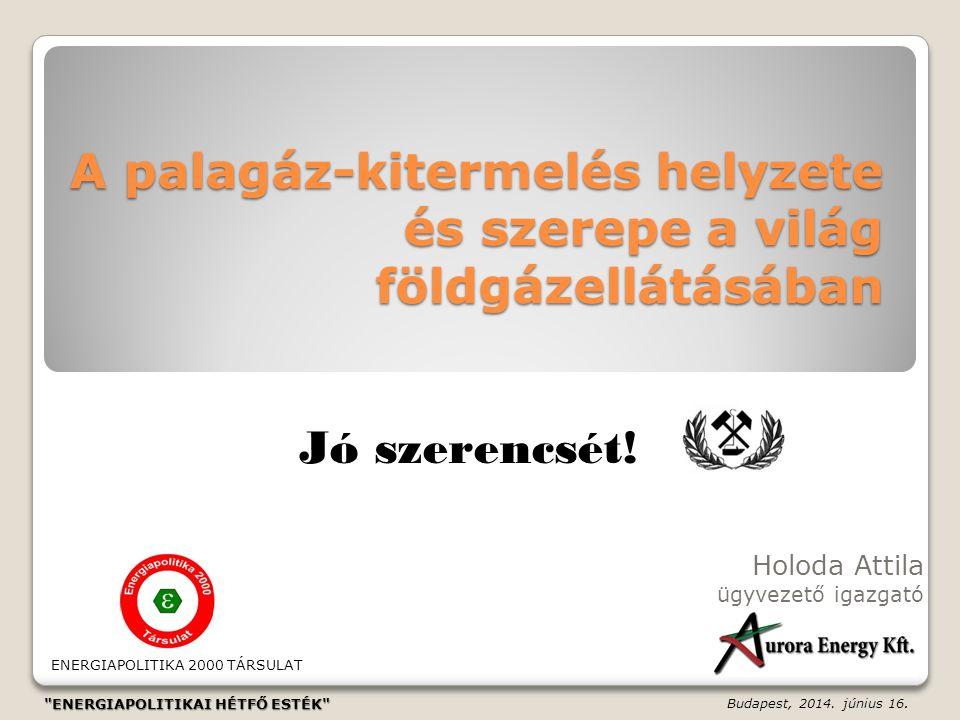 A palagáz-kitermelés helyzete és szerepe a világ földgázellátásában Holoda Attila ügyvezető igazgató Budapest, 2014. június 16. Jó szerencsét! ENERGIA