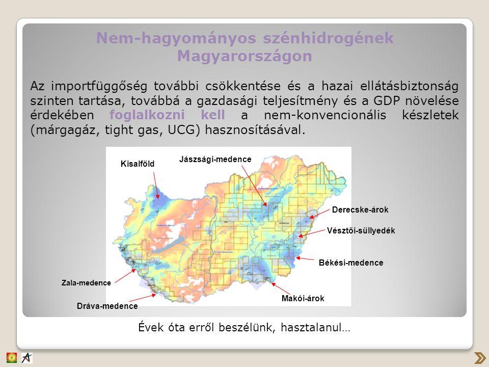 Nem-hagyományos szénhidrogének Magyarországon Az importfüggőség további csökkentése és a hazai ellátásbiztonság szinten tartása, továbbá a gazdasági t