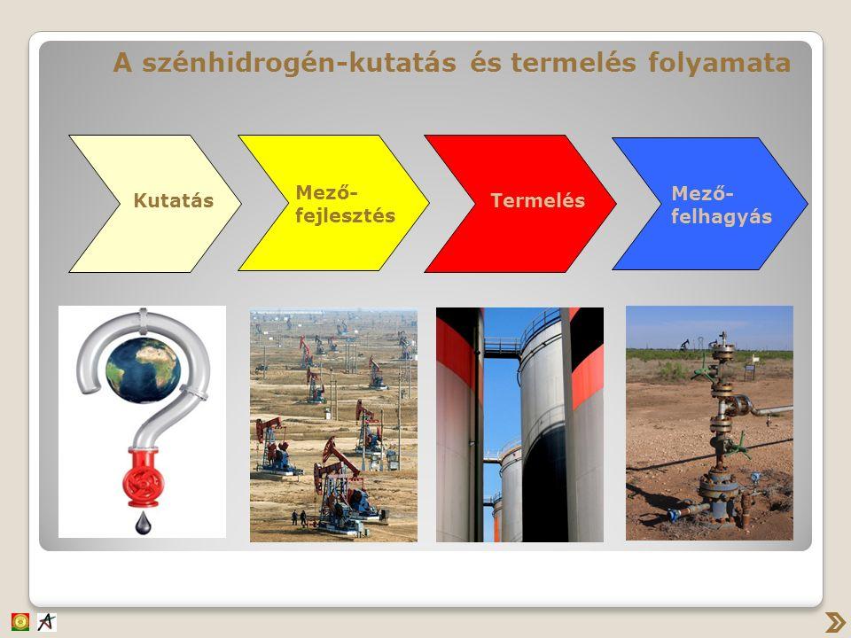 Kutatás Mező- fejlesztés Termelés Mező- felhagyás A szénhidrogén-kutatás és termelés folyamata