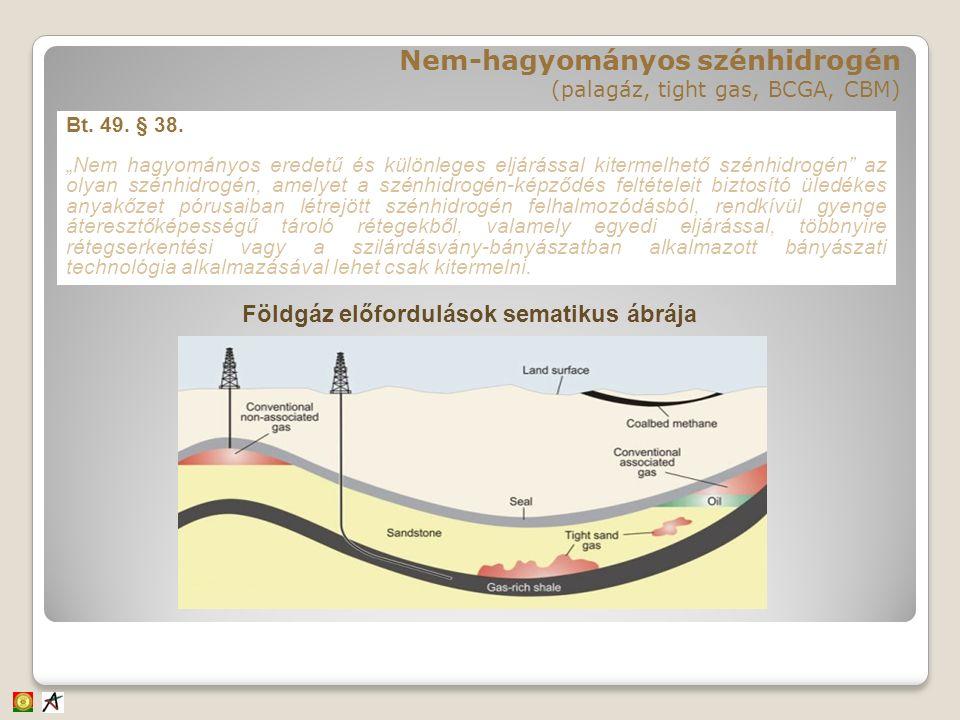 """Bt. 49. § 38. """"Nem hagyományos eredetű és különleges eljárással kitermelhető szénhidrogén"""" az olyan szénhidrogén, amelyet a szénhidrogén-képződés felt"""