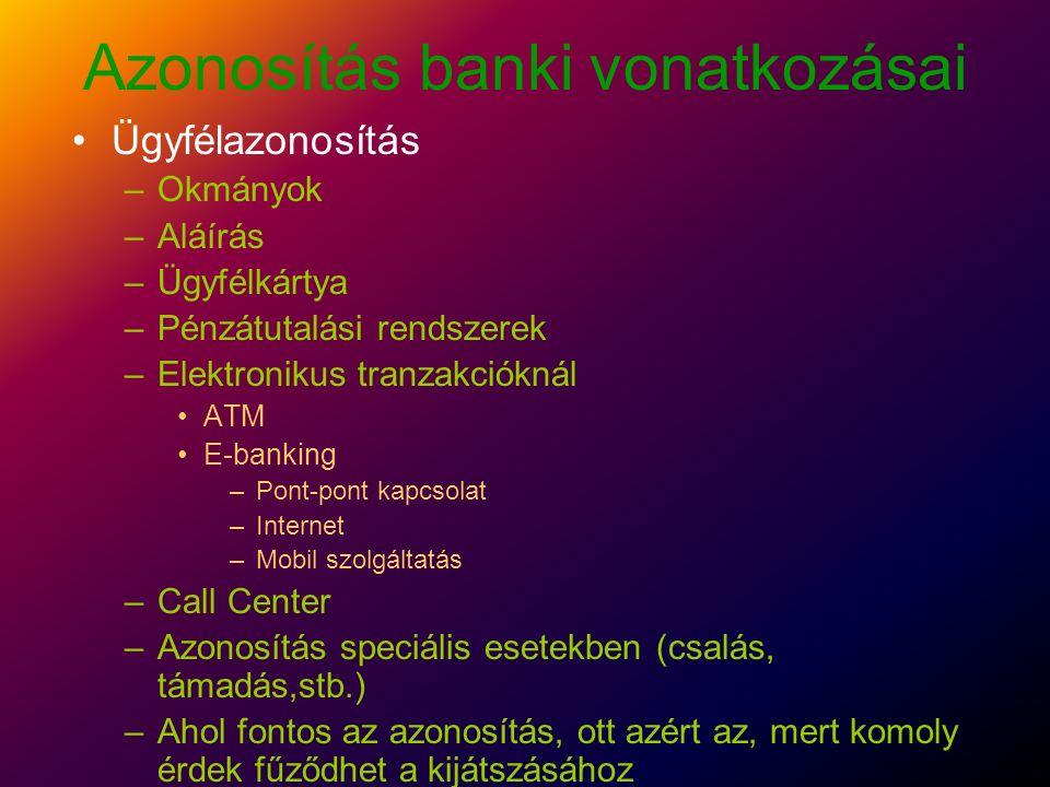 Azonosítás banki vonatkozásai Alkalmazott azonosítás (Ő is lehet ügyfél) –Beléptetés - biztonsági zónarendszer –Hozzáférés és jogosultság kontroll Informatikai rendszerek Telefon használat (jogosultság korlátozás, költségmegosztás) –Azonosítás a munkafolyamatok kapcsán –Elektronikus levelezőrendszer –Bizottsági jellegű azonosítások (kettős aláírások, ügyintéző+ellenőr)