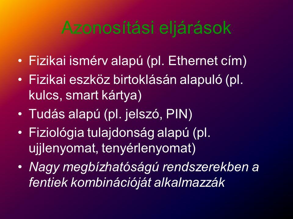 Azonosítási eljárások Fizikai ismérv alapú (pl.