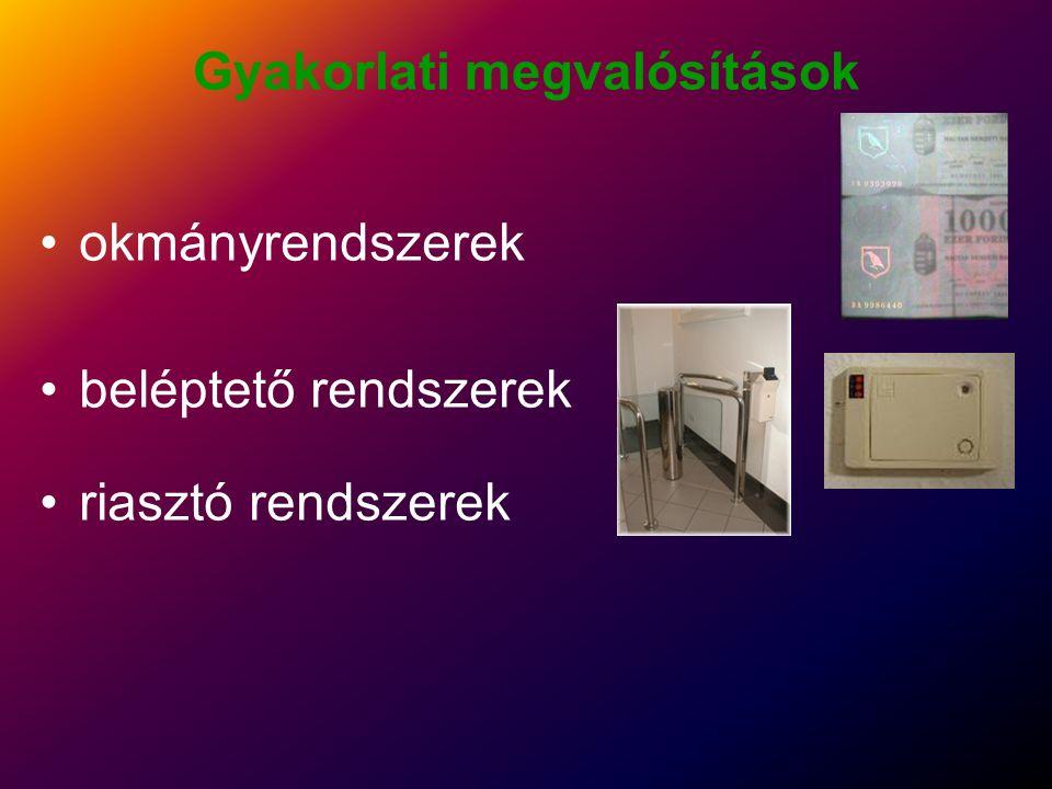 Gyakorlati megvalósítások okmányrendszerek beléptető rendszerek riasztó rendszerek