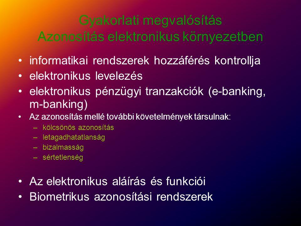 Elektronikus aláírás Szimmetrikus kulcs rendszerek Aszimmetrikus kulcs rendszerek –Privát (titkos kulcs) –Publikus kulcs Nyilvános kulcs: Bárki számára nyilvánosan hozzáférhető Üzeneteket titkosítják vele (a küldő titkosít a címzett titkos kulcsával) és ellenõrzik az aláírást (a címzett ellenőriz a küldõ nyilvános kulcsával) Privát kulcs: Csak a tulajdonos számára hozzáférhető Aláírják és visszafejtik az üzeneteket vele (a küldő ír alá és a fogadó fejt vissza a saját titkos kulcsával).