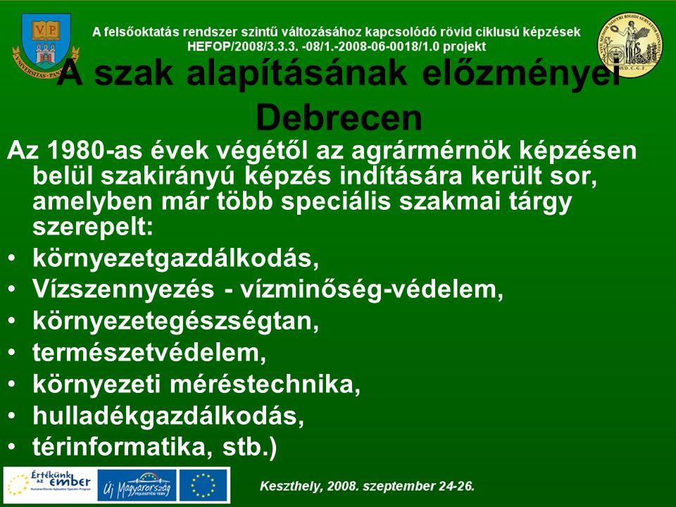 A szak alapításának előzményei Debrecen 1996.-ban került benyújtásra az illetékes minisztériumhoz a szakindítási kérelem, a környezetgazdálkodási agrármérnök képzésre.