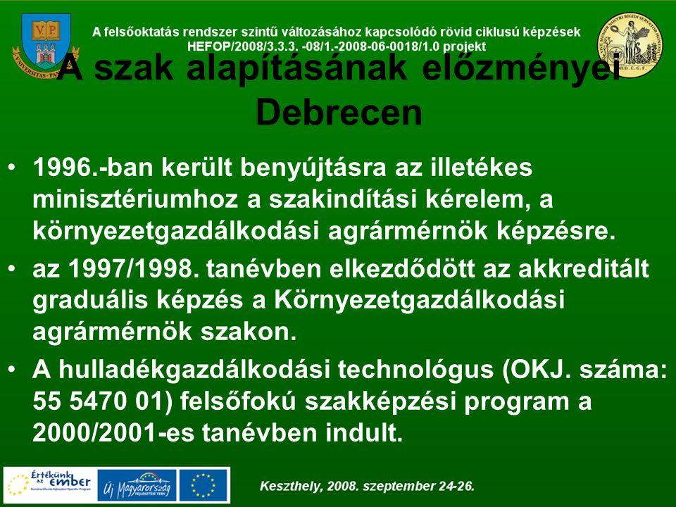 A tantervek átdolgozása, összehangolása Agrár-környezetgazdálkodási BSc szakok tantervének átfedése a Intézmények között az átdolgozás után DE MTK Debrecen PE GMTK Keszthely Összesen% Egyezés39357478,7 Hasonlóság4599,57 Eltérés291111,7 Összesítés454994100