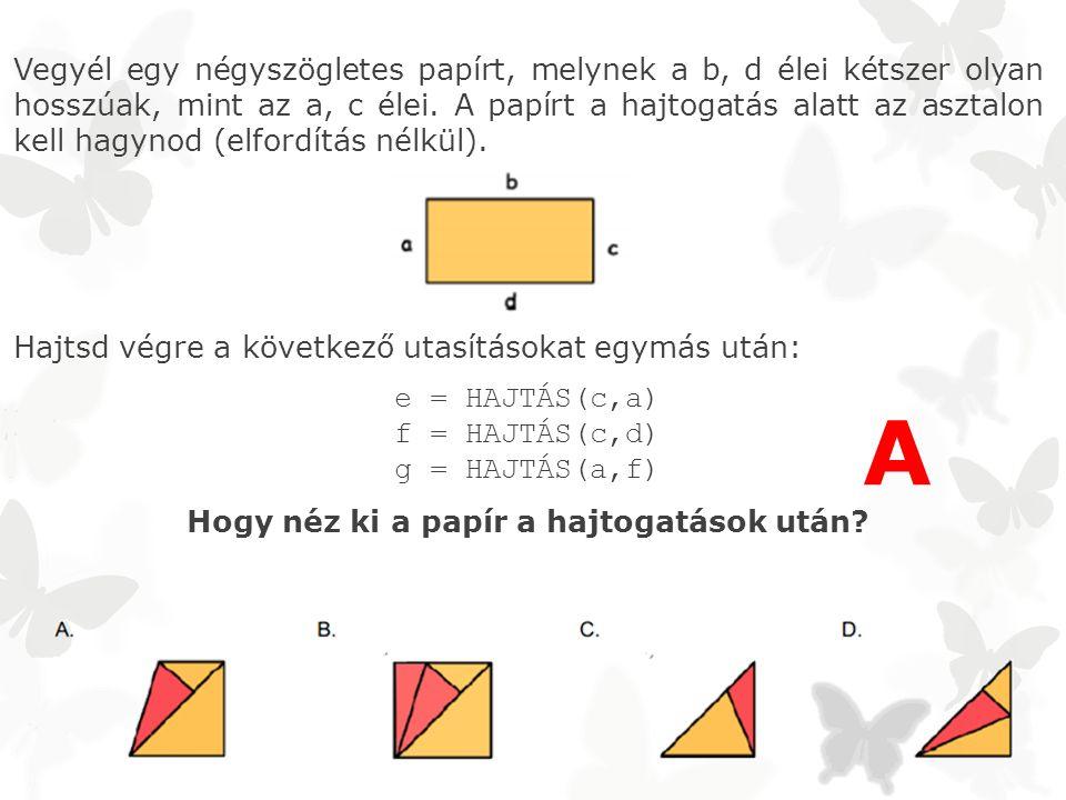 Vegyél egy négyszögletes papírt, melynek a b, d élei kétszer olyan hosszúak, mint az a, c élei.