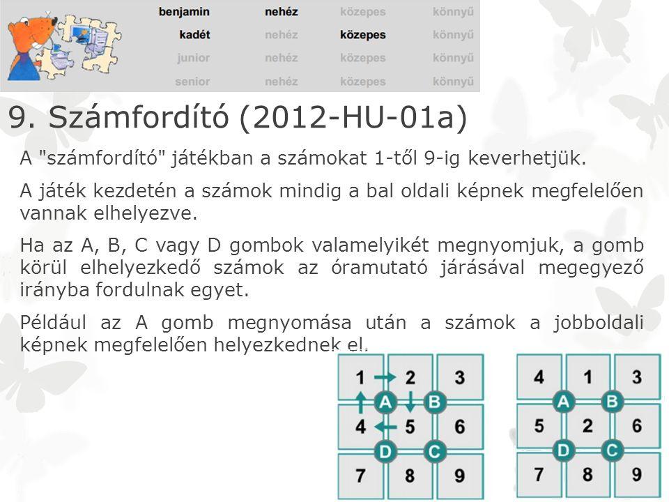 A számfordító játékban a számokat 1-től 9-ig keverhetjük.