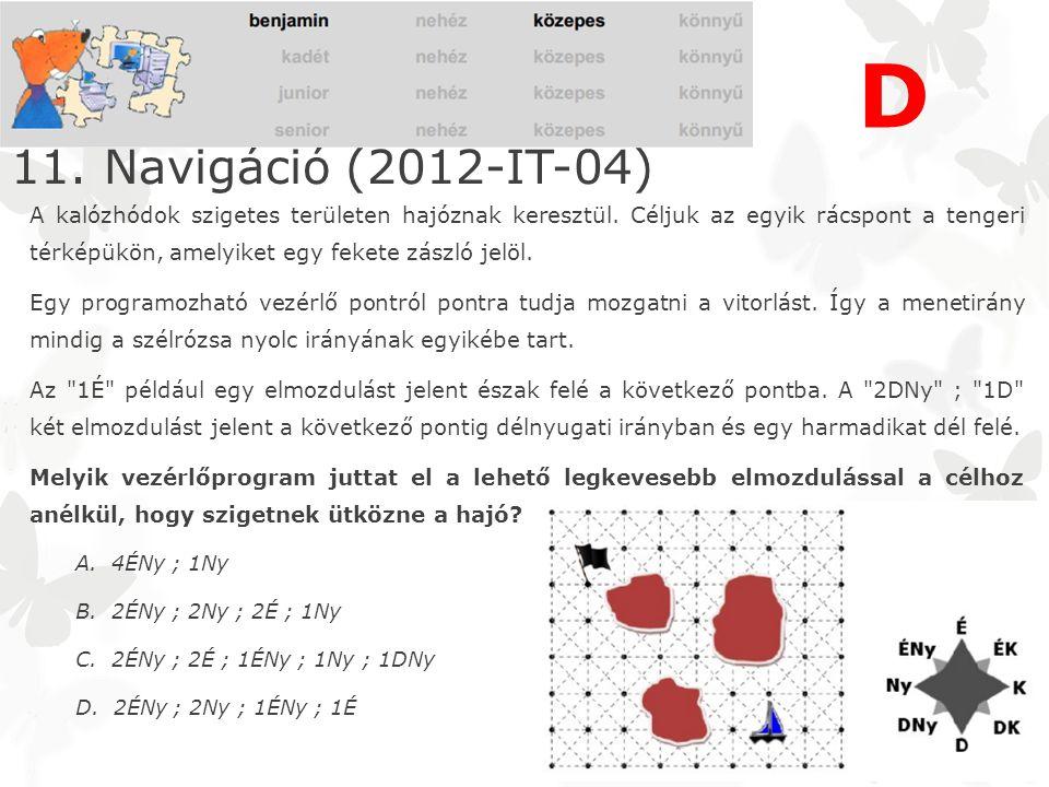 11. Navigáció (2012-IT-04) A kalózhódok szigetes területen hajóznak keresztül.