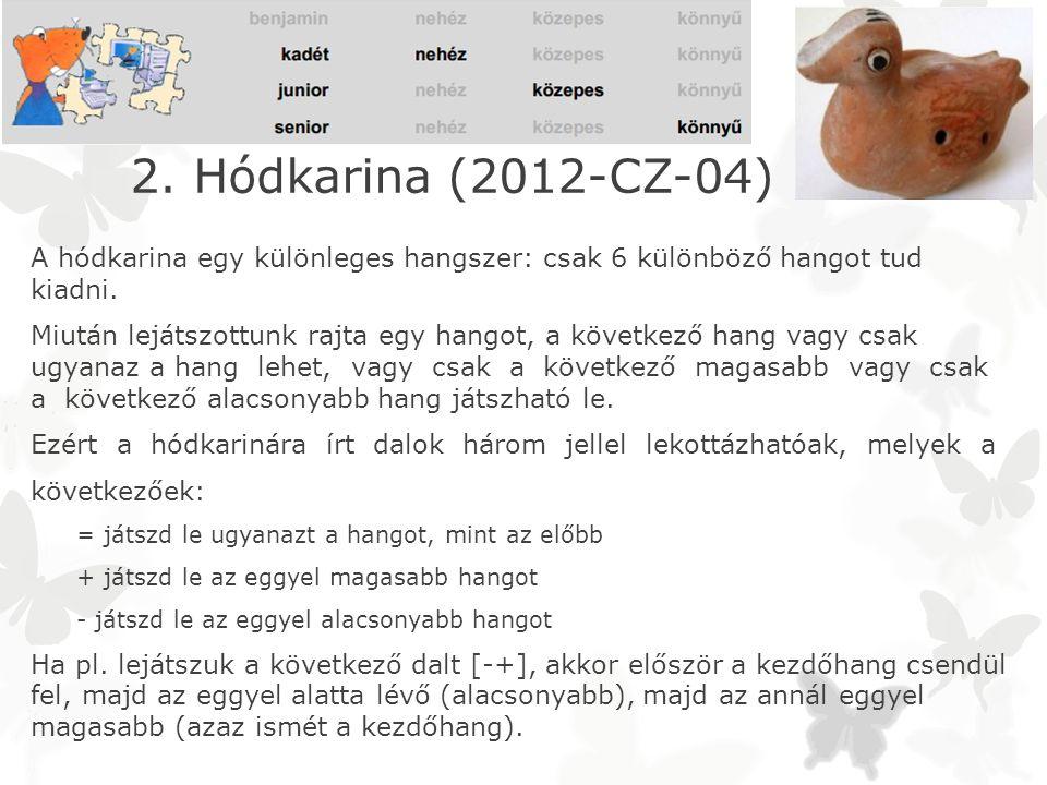 2. Hódkarina (2012-CZ-04) A hódkarina egy különleges hangszer: csak 6 különböző hangot tud kiadni.