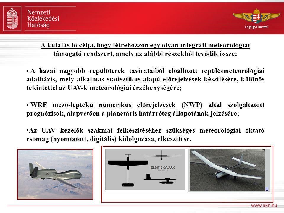Légügyi Hivatal A kutatás fő célja, hogy létrehozzon egy olyan integrált meteorológiai támogató rendszert, amely az alábbi részekből tevődik össze: A