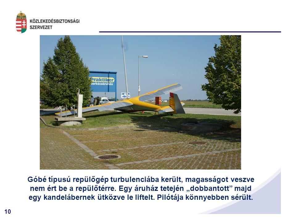 10 Góbé típusú repülőgép turbulenciába került, magasságot veszve nem ért be a repülőtérre.