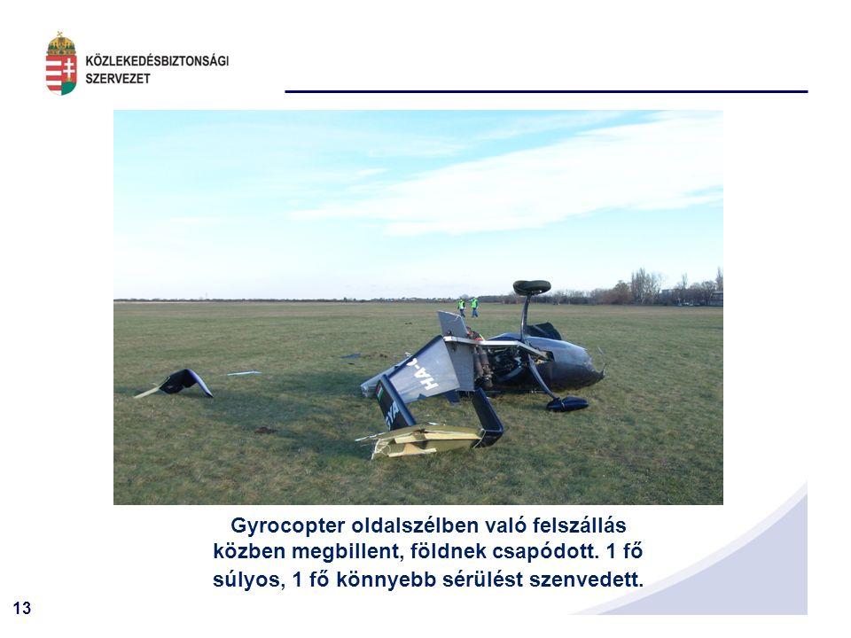 13 Gyrocopter oldalszélben való felszállás közben megbillent, földnek csapódott.