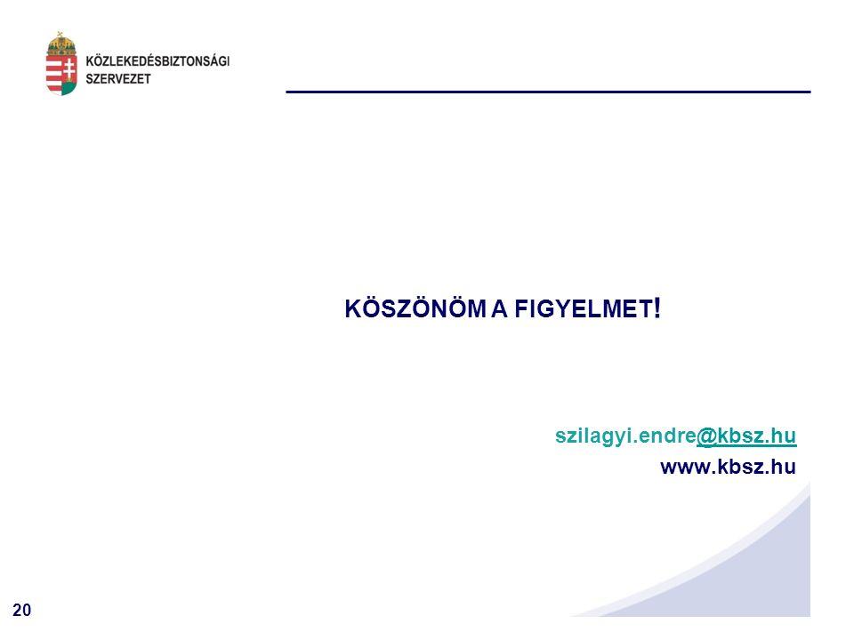 20 KÖSZÖNÖM A FIGYELMET ! szilagyi.endre@kbsz.hu@kbsz.hu www.kbsz.hu