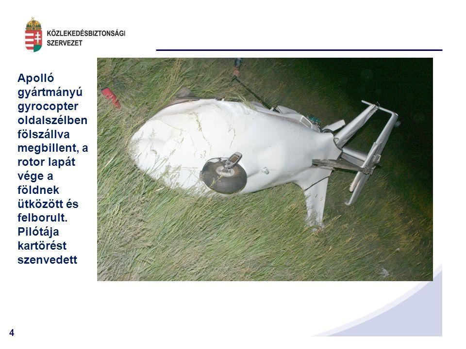 15 Cessna 152 hegynek ütközött, pilótája meghalt, a mellette ülő személy súlyos életveszélyes sérüléseket szenvedett.