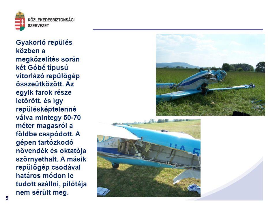 6 Bellanca típusú vontatásra használt repülőgép hátszélben szállt le.