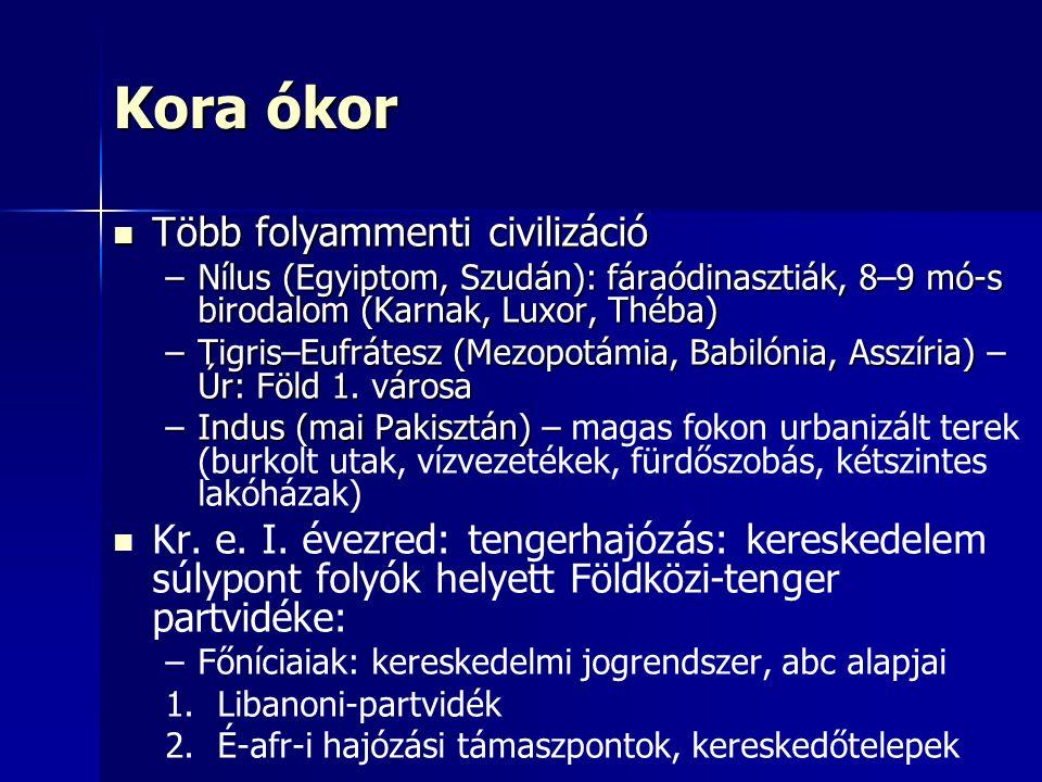 Kora ókor Több folyammenti civilizáció Több folyammenti civilizáció –Nílus (Egyiptom, Szudán): fáraódinasztiák, 8–9 mó-s birodalom (Karnak, Luxor, Théba) –Tigris–Eufrátesz (Mezopotámia, Babilónia, Asszíria) – Úr: Föld 1.