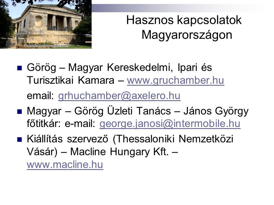 Hasznos kapcsolatok Magyarországon Görög – Magyar Kereskedelmi, Ipari és Turisztikai Kamara – www.gruchamber.huwww.gruchamber.hu email: grhuchamber@ax