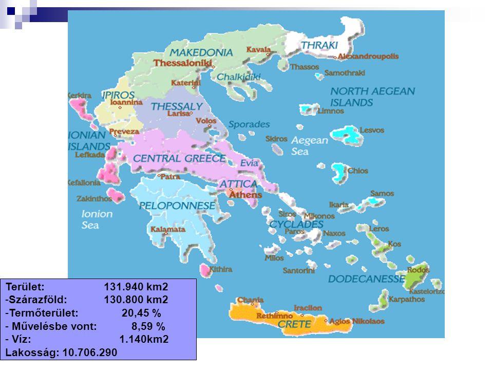 Terület:131.940 km2 -Szárazföld:130.800 km2 -Termőterület: 20,45 % - Művelésbe vont: 8,59 % - Víz: 1.140km2 Lakosság: 10.706.290