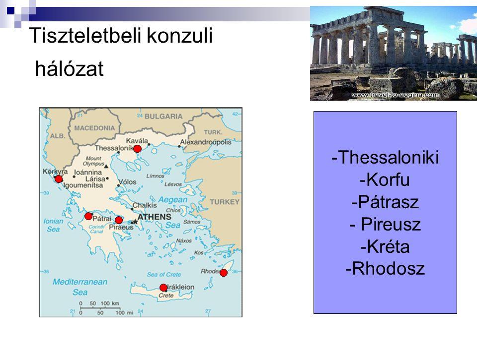 Tiszteletbeli konzuli hálózat -Thessaloniki -Korfu -Pátrasz - Pireusz -Kréta -Rhodosz