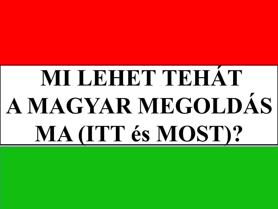 MI LEHET TEHÁT A MAGYAR MEGOLDÁS MA (ITT és MOST)?