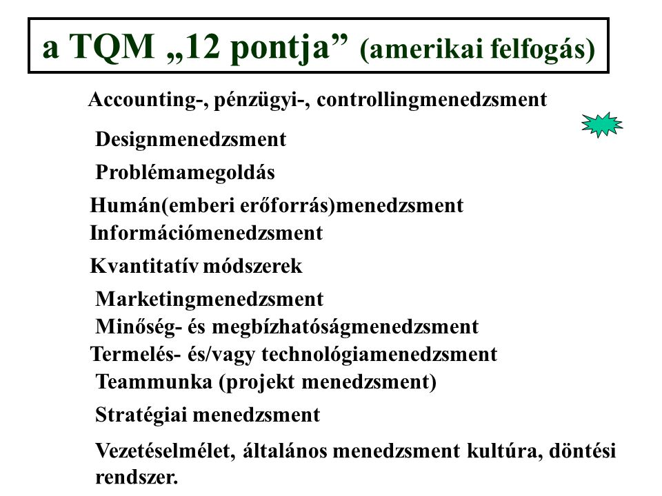 """a TQM """"12 pontja (amerikai felfogás) Accounting-, pénzügyi-, controllingmenedzsment Designmenedzsment Problémamegoldás Humán(emberi erőforrás)menedzsment Információmenedzsment Kvantitatív módszerek Marketingmenedzsment Minőség- és megbízhatóságmenedzsment Termelés- és/vagy technológiamenedzsment Teammunka (projekt menedzsment) Stratégiai menedzsment Vezetéselmélet, általános menedzsment kultúra, döntési rendszer."""