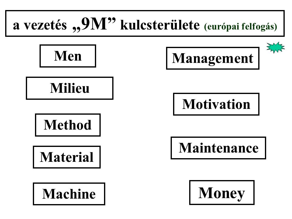 "a vezetés ""9M kulcsterülete (európai felfogás) Men Management Method Material Machine Milieu Motivation Maintenance Money"