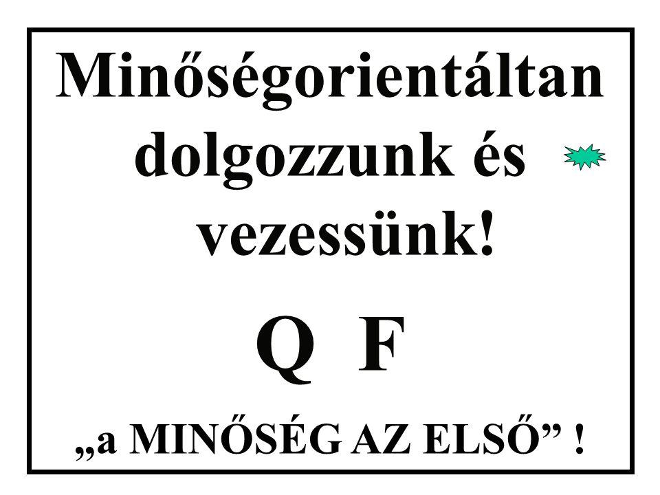 """Minőségorientáltan dolgozzunk és vezessünk! Q F """"a MINŐSÉG AZ ELSŐ"""" !"""