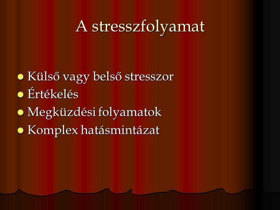 A stresszfolyamat Külső vagy belső stresszor Külső vagy belső stresszor Értékelés Értékelés Megküzdési folyamatok Megküzdési folyamatok Komplex hatásmintázat Komplex hatásmintázat