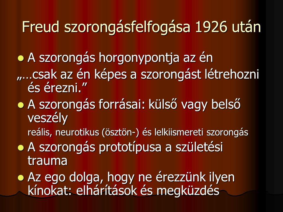 """Freud szorongásfelfogása 1926 után A szorongás horgonypontja az én A szorongás horgonypontja az én """"…csak az én képes a szorongást létrehozni és érezni. A szorongás forrásai: külső vagy belső veszély A szorongás forrásai: külső vagy belső veszély reális, neurotikus (ösztön-) és lelkiismereti szorongás A szorongás prototípusa a születési trauma A szorongás prototípusa a születési trauma Az ego dolga, hogy ne érezzünk ilyen kínokat: elhárítások és megküzdés Az ego dolga, hogy ne érezzünk ilyen kínokat: elhárítások és megküzdés"""