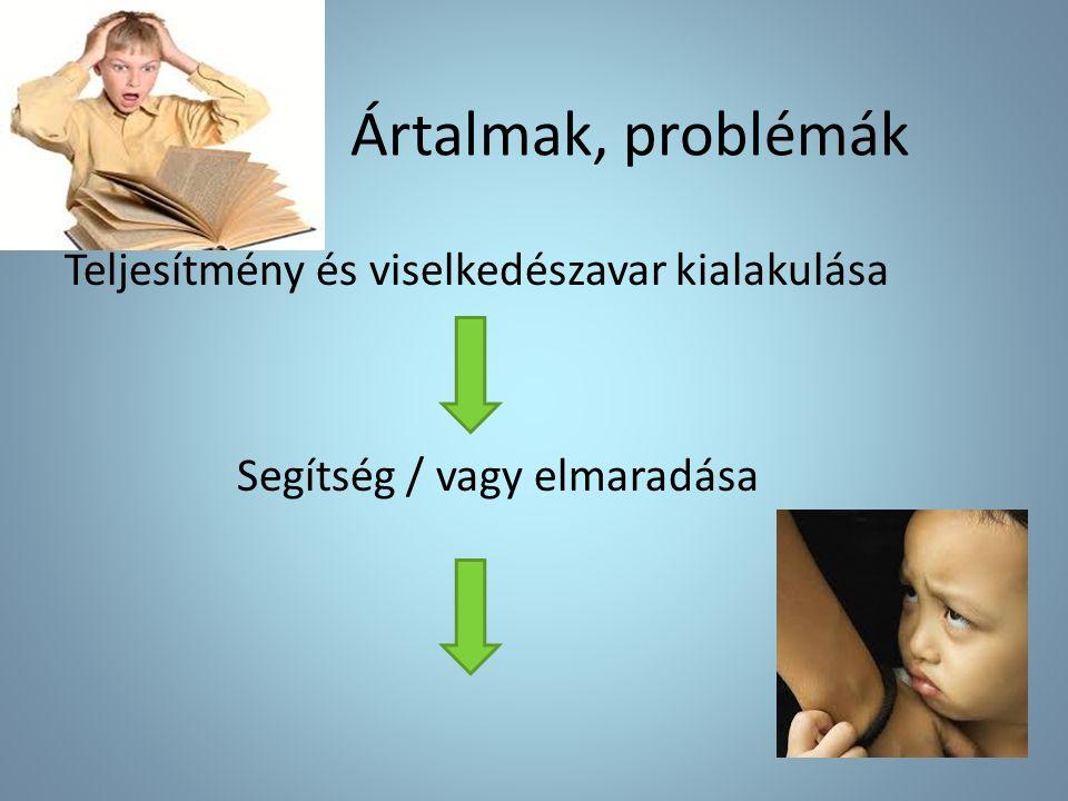 Ártalmak, problémák Teljesítmény és viselkedészavar kialakulása Segítség / vagy elmaradása